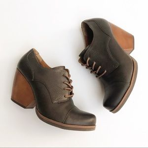 Korks by Kork-Ease Leather Cap Toe Lace-Up Booties